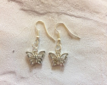 Butterfly Earrings, Butterfly Jewellery, Silver Earrings, Silver Butterfly Charms, Boho Jewellery, Kids Earrings, Butterflies.