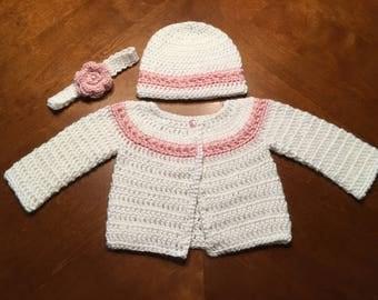 Crochet Baby Sweater Set, Baby Gift