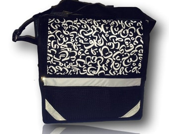 Black Madrasah bag, messanger bag, over shoulder book bag. With reflectors. Strong and durable