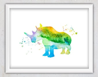 Nursery Animal Print, Rhino Print, Nursery Animal Art Print, Abstract Animal Art, Digital Art Animal, Download Print, Animal Printable Print