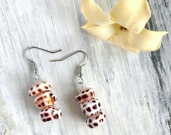 Beachy Hawaiian puka shell dangle earrings - handmade in Hawaii