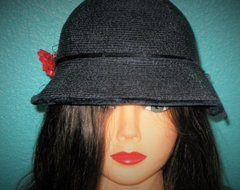 1950's vintage womens sassy navy treated straw hat  red flower  with brim 20.00