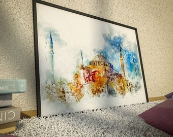 Hagia Sophia, Istanbul; Print; Poster; Art; Architecture; Abstract Art; Fine Art; Wall Art; Watercolor Painting; Home Decor; Office Decor