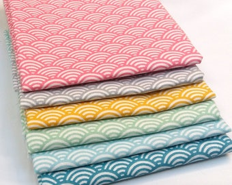 6 coupons Fat Quarter 50 cm x 50 cm - Sushi - Japanese fabric - fabric fabric waves pastels: seigaiha - waves Fabric - fabric cotton oeko tex
