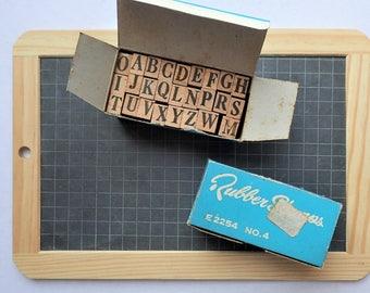 Wooden Rubber Alphabet Stamp Set. Small Alphabet Peg Set.