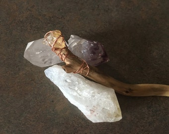 Healing Crystals and Corkscrew Willow Wand 4 piece Collection Citrine Clear Quartz Crystal Amethyst and Citrine Tipped Corkscrew Willow Wand