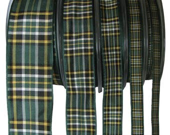 Irish National Tartan Ribbon - CUT LENGTHS. 7, 10, 16, 25 & 40mm Widths.... (25m Reels also available - pls. see REELS listing)