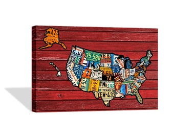 United States Wall Art license plate map | etsy