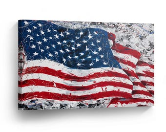 United States of America Flag Vintage Decorative Art Canvas Print Wall Décor /Home Decoration/Iconic Wall Art/Gallery Wrapped/Ready to Hang