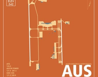 AUS Austin Texas International Airport Travel Infographic Art Print on Paper Variety of Colors and Styles for Home of Office Decor