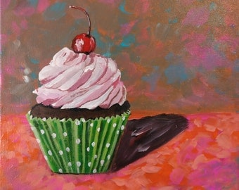 ORIGINAL Cupcake painting, Graduation gift, Cupcake art, Acrylic art on canvas, Kitchen decor, Birthday gift, Gift for mom, Cupcake theme