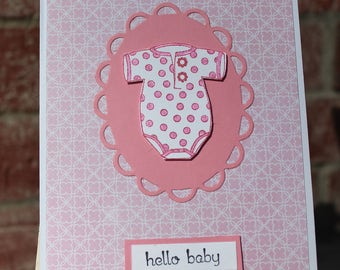 Hello Baby Girl card, New baby card, baby girl card, pink baby shower card