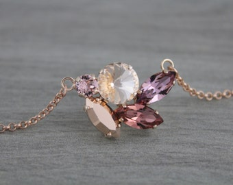 Rose gold necklace, Bridal jewelry, Crystal Bridal necklace, Swarovski necklace, Pendant necklace, Blush crystal necklace, Wedding necklace