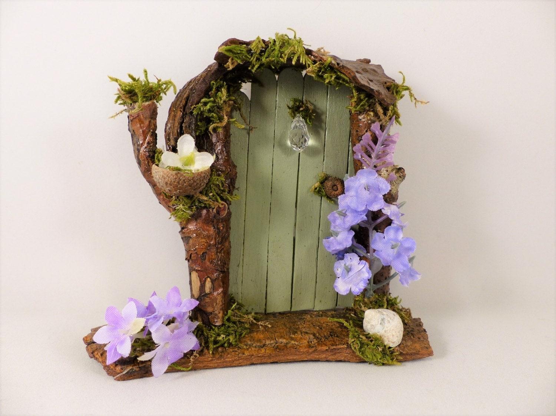 Green fairy door with flowers fairy garden fairy princess for Princess fairy door