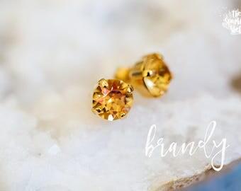 Brandy Swarovski Gold Stud Earrings - 8mm