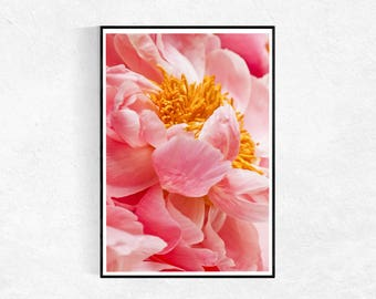 Vibrant Peony PRINT, Botanical Art Poster, Botanical Photography, Pink Wall Art, Botanical Print, Peonies Photograph,  Large Poster