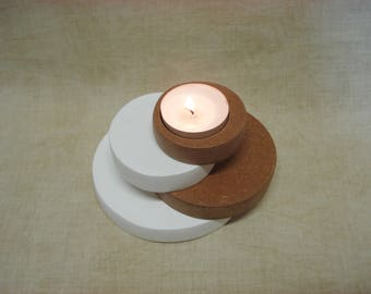 Round wooden candle holder