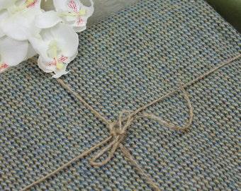 Vintage Harris Tweed Fabric ( Blue/Green Houndstooth)  1970s/ Tweed Fabric/ Craft Supplies & Tools