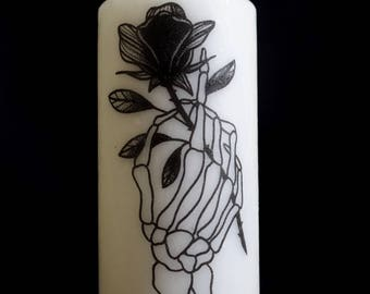 LARGE FORMAT - skeleton hand candle / pink.