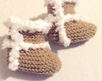 Newborn Uggs Lookalike Baby Booties Knitted Tan Baby Shoes
