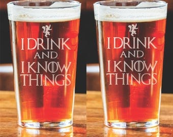 Game of Thrones - I know things - Set of 2 Laser etched pint glass