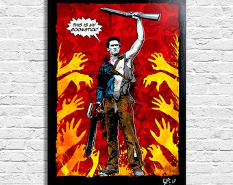 Ash Williams from Evil Dead Army of Darkness (Bruce Campbell) - Original framed fine art painting, poster, canvas, artwork, horror, movie