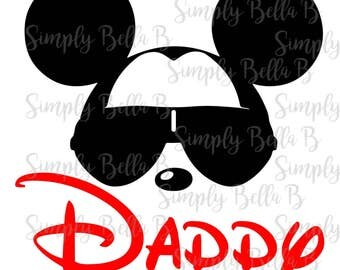 Mickey Sunglasses Daddy INSTANT DOWNLOAD Printable Digital Iron-On Transfer Design - DIY