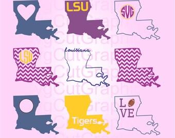 Louisiana SVG Files, Svg Monogram, SVG Cutting Files, Svg Files for Cricut, Svg Monogram Frames, Silhouette SVG Files, Cricut Svg Files