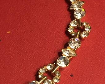 Vintage Signed Monet Gold Tone Crystal Necklace