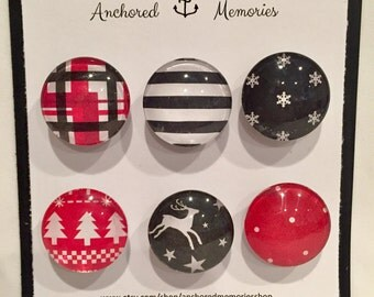Handcrafted Glass Magnets - Set of 6 - Decorative Winter & Stripes theme | Holiday Gift | Party Favors | Stocking Stuffer