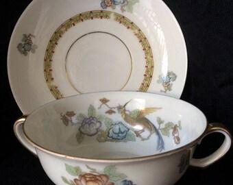 "Elegant Epiag Soup Bowl with Saucer, Czechoslovakia ""Bird of Paradise"" Handled  Vintage"
