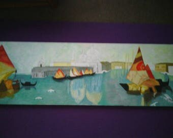 Canal Boats, Venice, Italy - Original Painting Panorama 36x12
