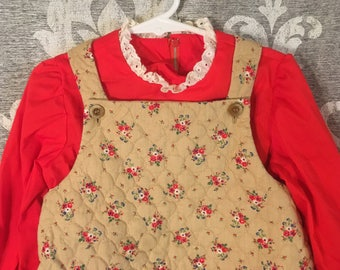 Girls Vintage Handmade Quilted Dress
