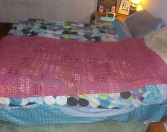 Hand-made Crochet Pink Blanket