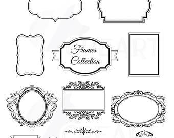 Digital Frames, Borders Clip Art, Digital Labels, Basic Frames clipart, Digital Stamp, Frame Silhouette, vector illustrator, PNG, jpg files