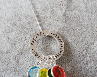 Handstamped Circle with Kids Name, Mothers Day, Birthstone Necklace, Name Necklace, Handstamped Circle, Mother's Day Gift, Gift for Grandma