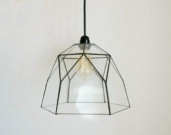 Geometric pendant Lamp -  , Glass Handmade, Home Wedding table decor, Loft, Industrial, Living room,  Black