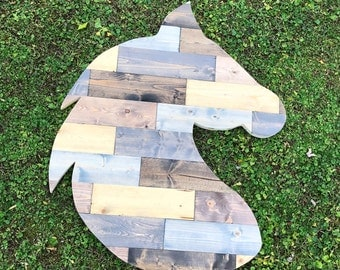"""Horse Head Profile Large Wooden 33"""""""