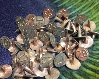 Copper Tacks - Old Window Markers - Numbered Window Tacks - Vintage Push Pin - Metal Number Marker - Solid Copper Pins - Set of Six
