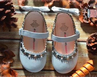 Swarovsky crystals grey suede ballerinas
