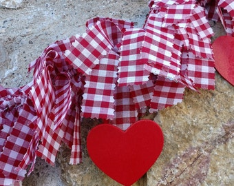 Valentine's Garland, Wedding Garland, Shabby Chic Garland, Plaid Garland, Rag Garland, Wingham Garland, Heart Garland