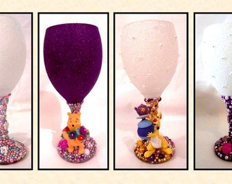 Winnie the Pooh & Friends Disney Inspired Glitter and Pearl Wine Glass ~ 4 Characters to choose from