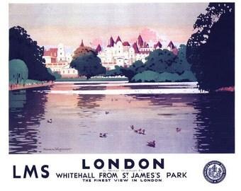Vintage LMS St James Park London Railway Poster A3/A2/A1 Print