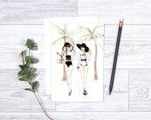 "Good Morning Monaco -  Note Cards- 4""x6"" - Greeting Cards - Tropical - Besties - Chanelbathingsuit - Best Friends-Beach Babes"