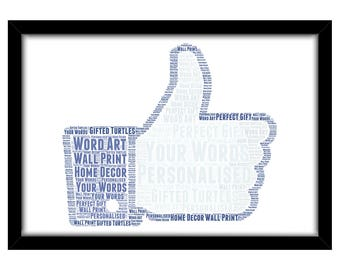 PERSONALISED Like Word Art Wall Print Gift Idea Decor Birthday Thumbs Up Social Media For Him Her Son Daughter Vlogger Blogger FB PG0582