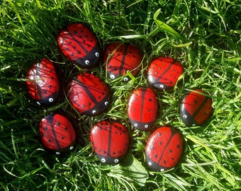 Lady bird stones, with dots 1-10 on each wing, number doubles