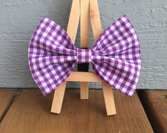 purple gingham bow tie, dog bow tie