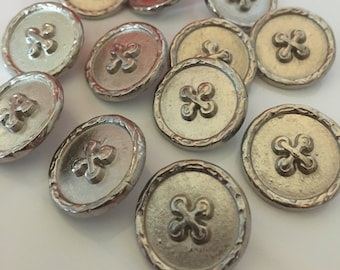 5, silver buttons, metal buttons, 20mm buttons, round buttons, military buttons, vintage buttons, haberdashery, craft supplies. uk seller