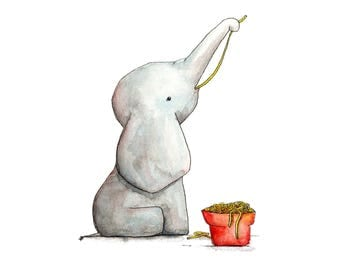 "Printable Illustration ""Little Baby Elephant sleeps on the moon"""