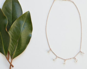 Rose Gold Dainty Choker with Natural Stones